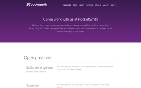 Screenshot of Jobs Page pocketsmith.com - Careers   PocketSmith - captured July 20, 2018