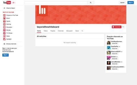 Screenshot of YouTube Page youtube.com - beyondthewhiteboard  - YouTube - captured Oct. 23, 2014