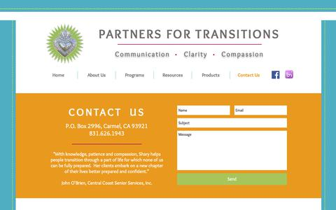 Screenshot of Contact Page partnersfortransitions.com - Partners for Transitions - CONTACT - captured Sept. 27, 2018