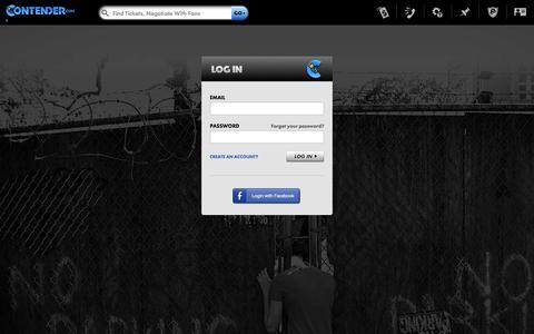Screenshot of Login Page contender.com - Contender.com - captured Oct. 10, 2014