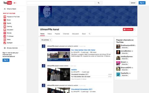 Screenshot of YouTube Page youtube.com - UllmanPRs kanal  - YouTube - captured Oct. 25, 2014