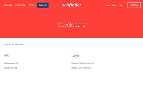 Screenshot of Developers Page doofinder.com - Doofinder | The best on-site search engine for your web or e-commerce site - captured Nov. 1, 2017