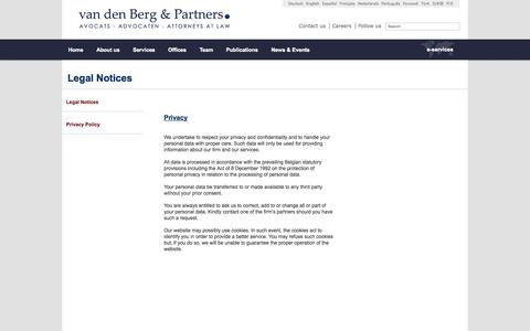Screenshot of Privacy Page vandenberg-law.eu - Van den Berg & Partners - captured Oct. 27, 2014