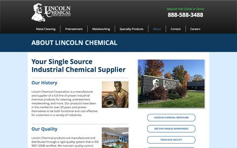 Screenshot of About Page lincolnchemical.com - Lincoln Chemical Corporation - captured Aug. 14, 2017
