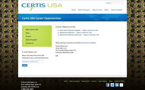 Screenshot of Jobs Page certisusa.com - Certis USA Career Opportunities - captured Sept. 29, 2014