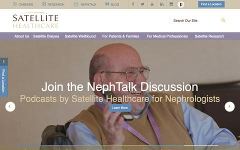 Screenshot of Home Page satellitehealth.com - Satellite Healthcare | Kidney Dialysis Therapy - captured Oct. 2, 2018