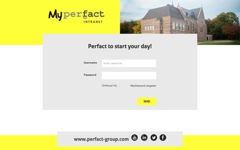 Screenshot of Login Page perfact-group.com - Perfact Group - MyPerfact - captured July 17, 2018