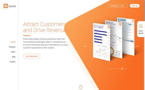 Screenshot of Home Page sentifi.com - New Financial Market Insights Tool, Social Crowd Intelligence & AI - Sentifi - captured July 26, 2018