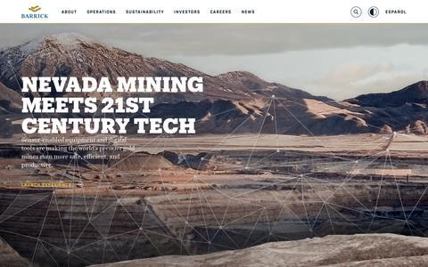 Screenshot of Home Page barrick.com - Barrick Gold Corporation - Home - captured May 22, 2018