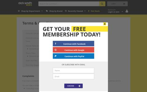 Screenshot of Terms Page dicksmith.com.au - Terms & Conditions | Dick Smith - captured June 20, 2017