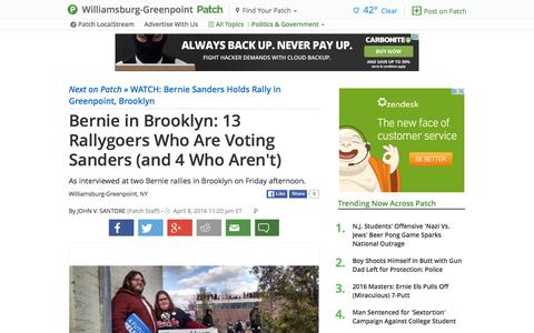Screenshot of patch.com - Bernie in Brooklyn: 13 Rallygoers Who Are Voting Sanders... - captured April 8, 2016