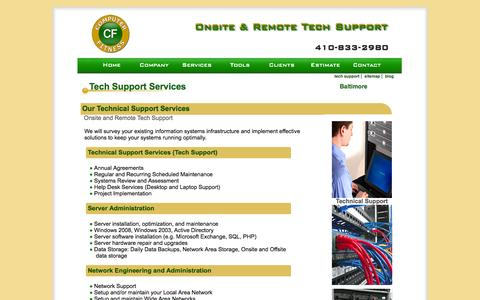 Screenshot of Services Page computerfitness.com - Tech Support Baltimore - We provide Technical Support Services - captured Oct. 2, 2014