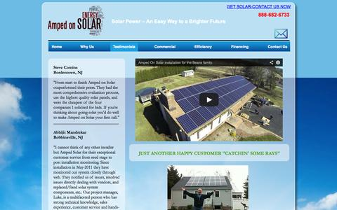 Screenshot of Testimonials Page ampedonsolar.com - Solar Electric Installation Projects for New Jersey Residents- Eastampton NJ, Burlington NJ, Florence NJ-Amped On Solar - captured Oct. 4, 2014