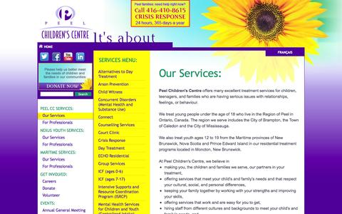 Screenshot of Services Page peelcc.org - Our Services | Peel Children's Centre - captured Oct. 2, 2014
