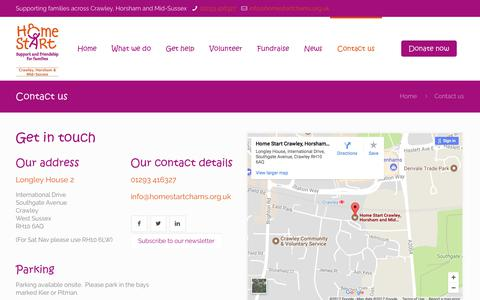 Screenshot of Contact Page homestartchams.org.uk - Contact us – Home Start CHAMS - captured Aug. 29, 2017