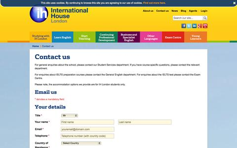 Screenshot of Contact Page ihlondon.com - Contact us | International House London - captured Nov. 5, 2014