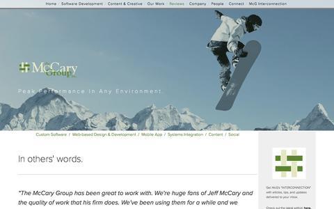 Screenshot of Testimonials Page mccarygroup.com - Reviews — The McCary Group - captured Feb. 12, 2016