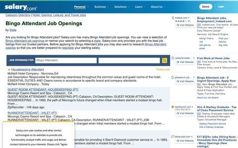 Screenshot of Jobs Page salary.com - Bingo Attendant  Job Openings | Salary.com - captured Oct. 26, 2018
