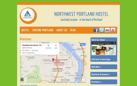 Screenshot of Maps & Directions Page nwportlandhostel.com - Northwest Portland Hostel   Portland, Oregon   Directions - captured Oct. 3, 2014