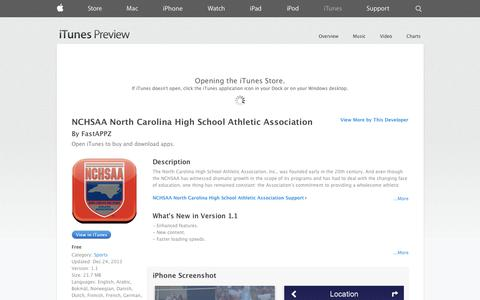 Screenshot of iOS App Page apple.com - NCHSAA North Carolina High School Athletic Association on the App Store on iTunes - captured Oct. 26, 2014