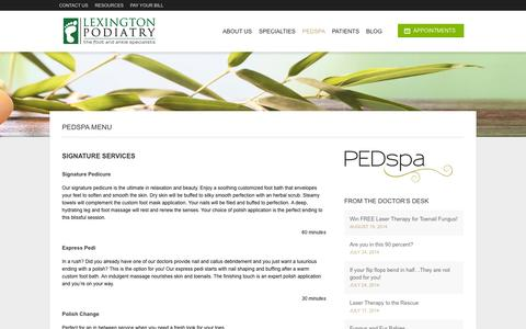 Screenshot of Menu Page lexingtonkypodiatry.com - PEDspa Services Menu | Lexington PodiatryLexington Podiatry - captured Oct. 2, 2014