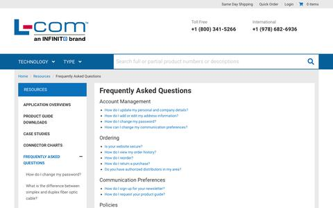 Screenshot of FAQ Page l-com.com - Frequently Asked Questions - captured Jan. 31, 2020