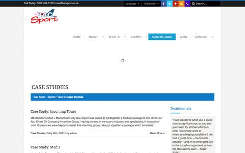 Screenshot of Case Studies Page bacsport.co.uk - Case Studies Archives » Bac Sport - Sports Travel - captured Oct. 22, 2014