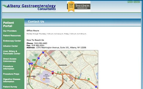 Screenshot of Contact Page Maps & Directions Page albanygi.com - Albany Gastroenterology Consultants, P.C. - captured Oct. 23, 2014