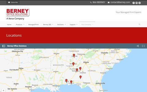 Screenshot of Locations Page berney.com - Berney Office Solutions  Locations - Berney Office Solutions - captured Oct. 5, 2018