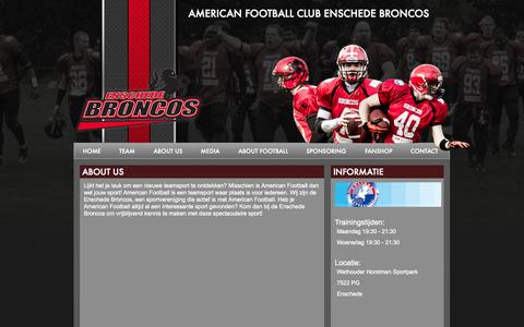 Screenshot of About Page enschede-broncos.nl - Enschede Broncos - captured Oct. 4, 2014