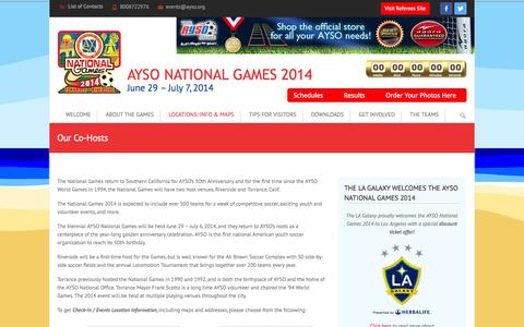 Screenshot of Locations Page ayso.org - Our Co-Hosts | AYSO National Games 2014 - captured Sept. 19, 2014