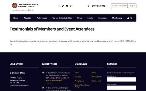 Screenshot of Testimonials Page californiahydrogen.org - Testimonials of Members and Event Attendees – California Hydrogen Business Council - captured Sept. 26, 2018