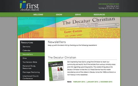 Screenshot of Press Page firstdecatur.org - Newsletters - First Christian Church of Decatur - captured Feb. 10, 2016