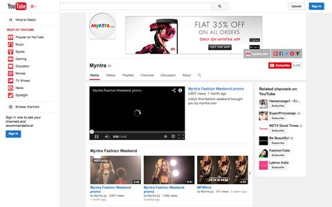 Screenshot of YouTube Page youtube.com - Myntra  - YouTube - captured Oct. 22, 2014