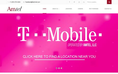 Screenshot of Home Page myamtel.com - Amtel | T-Mobile Stores | Cell Phone Stores - captured Feb. 6, 2016