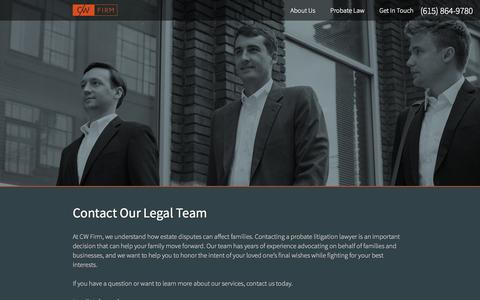 Screenshot of Contact Page cwfirm.com - Contact the Legal Team at CW Firm - captured Oct. 1, 2014