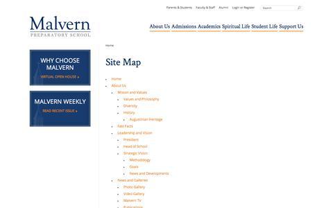 Screenshot of Site Map Page malvernprep.org - Site Map - Malvern Preparatory School - captured Feb. 4, 2016