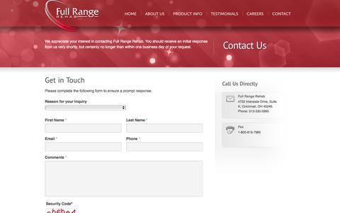 Screenshot of Contact Page fullrangerehab.com - Contact | EZ Stretch by Full Range Rehab - captured Sept. 2, 2018