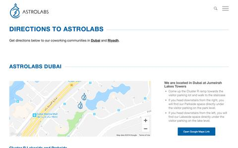 Screenshot of Maps & Directions Page astrolabs.com - Get Directions To AstroLabs - captured Nov. 20, 2018