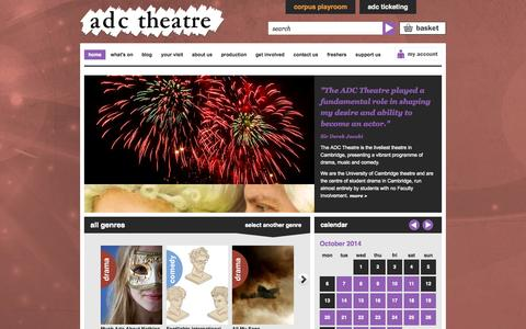 Screenshot of Home Page adctheatre.com - ADC Theatre - captured Oct. 4, 2014