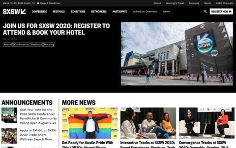 Screenshot of Press Page sxsw.com - News   SXSW Conference & Festivals - captured Aug. 8, 2019