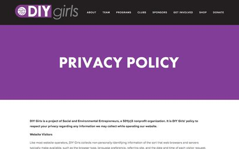 Screenshot of Privacy Page diygirls.org - Privacy Policy — DIY Girls - captured Aug. 5, 2018