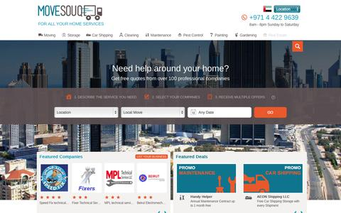 Screenshot of Home Page movesouq.com - Movers Dubai Abu Dhabi UAE | International Moving Companies Dubai - captured Aug. 5, 2015