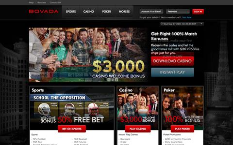 Screenshot of Home Page Signup Page bovada.lv - Online Sports Betting, Casino, Poker & Horse Racing at Bovada - captured Sept. 18, 2014
