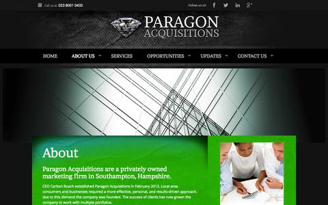Screenshot of About Page paragonacquisitions.co.uk - About - Paragon Acquisitions - HamsphireParagon Acquisitions - captured Sept. 29, 2014