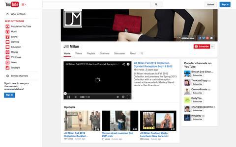 Screenshot of YouTube Page youtube.com - Jill Milan  - YouTube - captured Oct. 23, 2014