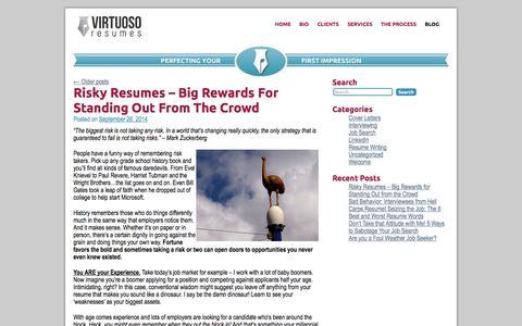 Screenshot of Blog virtuosoresumes.com - Blog | Virtuoso - captured Oct. 26, 2014