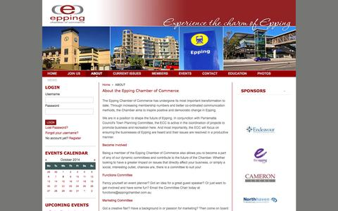 Screenshot of About Page eppingchamber.com.au - About the Epping Chamber of Commerce - captured Oct. 8, 2014