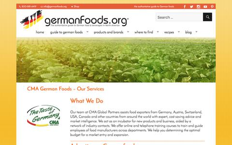 Screenshot of Services Page germanfoods.org - CMA German Foods - Our Services - Germanfoods.org - captured July 9, 2017