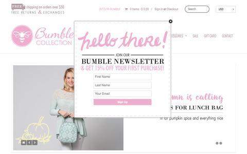 Screenshot of Home Page bumblecollection.com - Diaper Bags, Baby Bags, Lunch Bags | Bumble Collection - captured Dec. 4, 2016